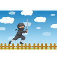 Ninja on fence vector image
