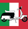 Vintage scooter type 1 on italian flag background vector image