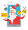merry christmas santa claus inside cellphone vector image vector image