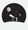 little boy looks to through a telescope to space vector image