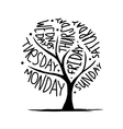 Art tree design with 7petal days of week vector image