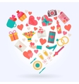 Love icons set in heart shape vector image vector image