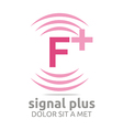 Logo Signal Letter F Plus Pink Alphabet Wireless vector image