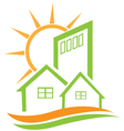 Residential green house and sun vector image vector image