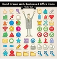 Hand Drawn Web Business And Office Icons vector image