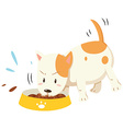 Little puppy eating from the bowl vector image