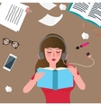young women reading book and listening music vector image