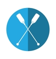 paddles crossed boat tool button shadow vector image