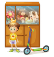 A young boy with his scooter and his toys in a vector image vector image