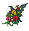 composition of tropical flowers and exotic vector image vector image