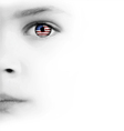 Childs Face Eye And American Flag vector image