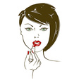 with face of woman aplying lipstick vector image