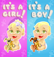 Its a boy and its a girl announcement card vector image vector image