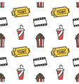 Cinema movie doodles seamless pattern background vector image