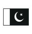 Flag of Pakistan monochrome on white background vector image