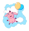 Little piggy with balloons flying in the sky vector image