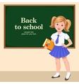 school girl desk vector image