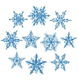 Set blue winter snowflakes on white background vector image