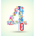 Number 4 colored font from numbers vector image