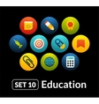 Flat icons set 10 - education collection vector image