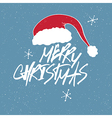 christmas santa hat and lettering vector image vector image