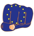 Flag of the europe on fist vector image