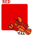 Color Red and Crayfish Cartoon vector image