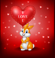 cartoon rabbit holding red heart balloon vector image