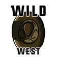 color vintage wild west emblem vector image