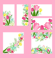 Floral templates with cute bunches of red tulips vector image