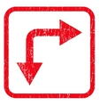 Bifurcation Arrow Right Down Icon Rubber Stamp vector image