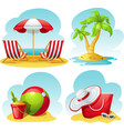 beach icon set vector image vector image