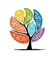 Art tree design with 7petal days of week vector image vector image