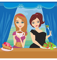 thick and thin girls in restaurant vector image vector image