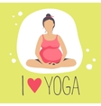 Pregnant woman doing YogaBatterfly or lotus Pose vector image