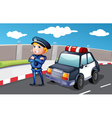 A smiling police officer at the street vector image