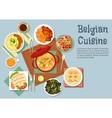Belgian cuisine popular national dishes vector image