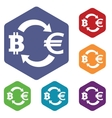 Bitcoin-euro exchange icon hexagon set vector image