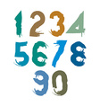 Handwritten colorful numbers stylish numbers set vector image