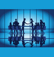 silhouettes of business partnership handshake vector image