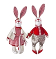 Girl and boy bunny doll in vintage style vector image