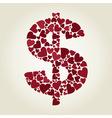 Dollar heart vector image vector image