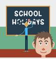 schoolboy wipes a school board vector image