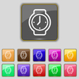 watches icon sign Set with eleven colored buttons vector image
