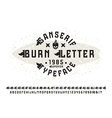 Sanserif font with burn initial letter vector image