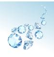 Blue Shiny Clear Diamonds Fall down vector image