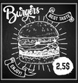 burgers menu cover layout menu chalkboard with vector image