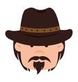 cowboy hat western icon graphic vector image