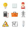 electrician industry icon cartoon set vector image