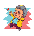 Happy Old Man Two Hands Pointing for Love vector image